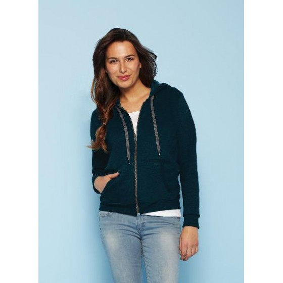 Ladies` Vintage Full Zip Hooded Sweat